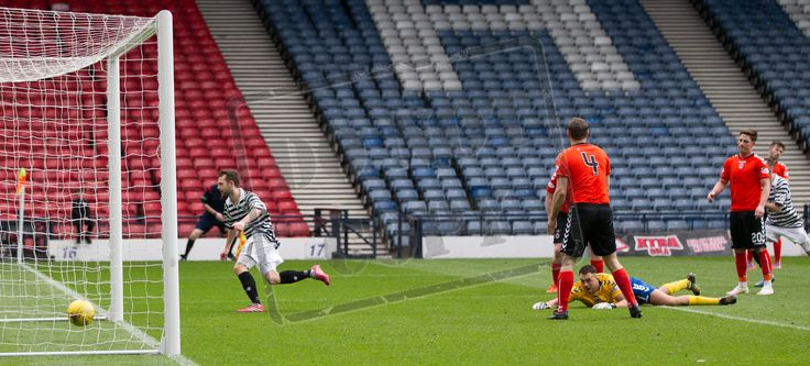 Queen's Park's Vinnie Berry puts Queens 2 up during the SPFL League Two game between Queen's Park and Clyde.