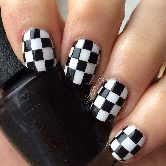 black and white checker pattern nail art - Instagram photo by mllrdesign #nail #nails #nailart