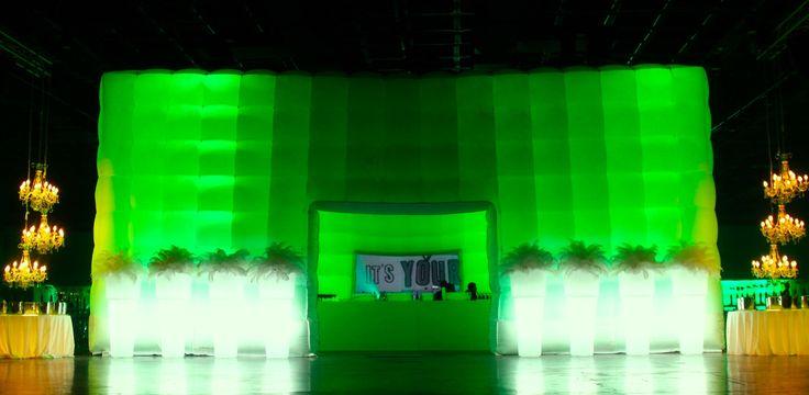 Take one 12x12m CUBE... 40 LED lights... slip 'em inside the double-skin walls... hook up the DMX programmer... WOW!