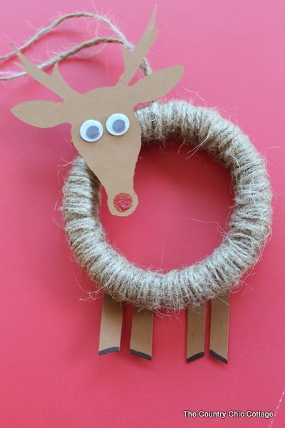 Embroidery Hoop Rudolph Ornament