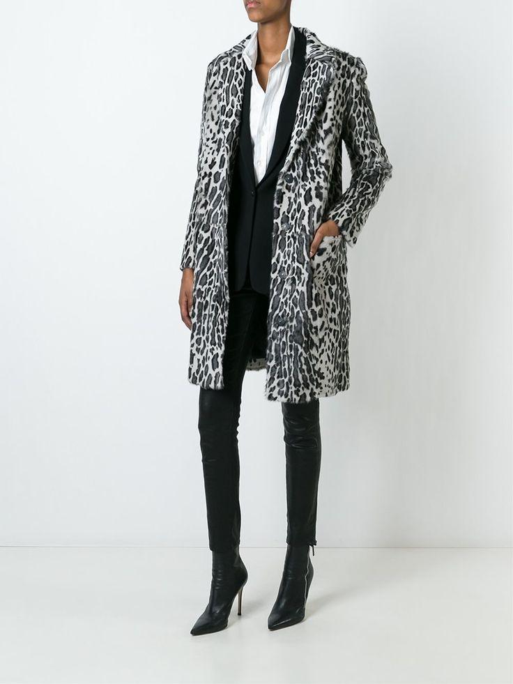 Yves Salomon abrigo de pelo con estampado de leopardo