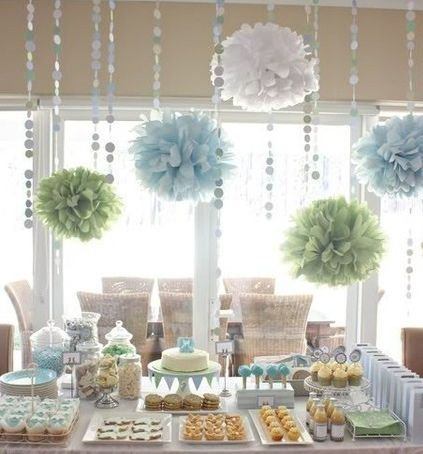 The Flower Orbs AND the Dot Streamers look great together :) Bridal Shower decoration
