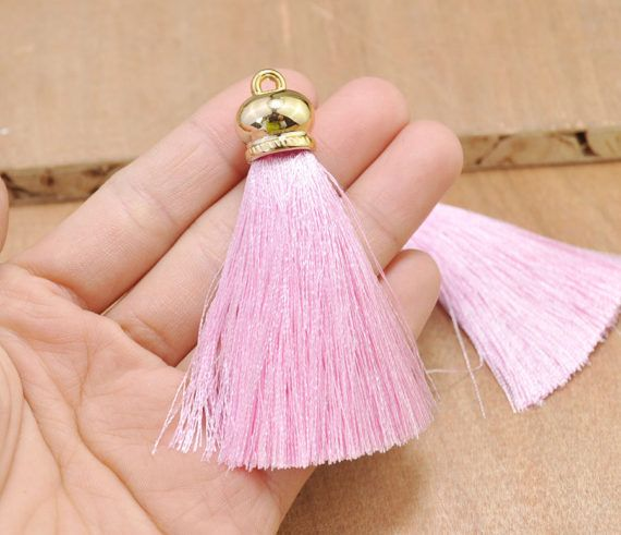 "10Pcs 2.75"" Pink color silk tassels with gold caps,Mini Tassel.High Quality Extra Thick tassels,tassel earring/necklace/bag/Keychains"