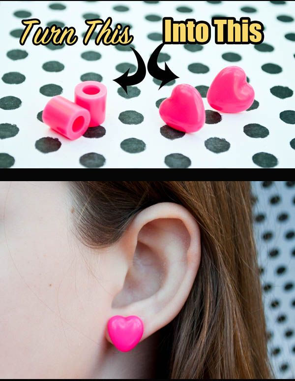 How to melt big perler beads into heart earrings