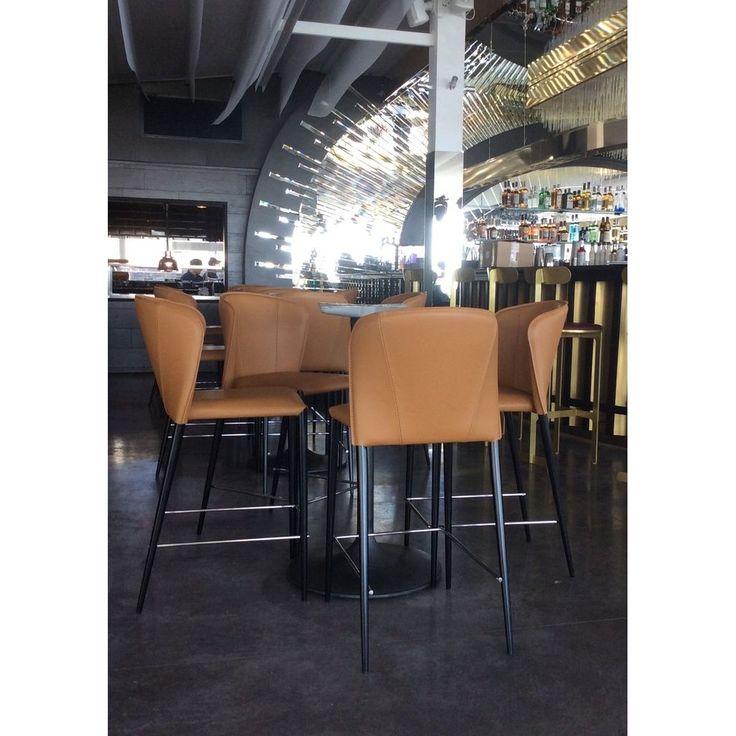 Leather barstool Arthur Concepto light brown in restauranr REEF in Odessa / Полубарный кожаный стул Arthur Concepto светло-коричневый в интерьере ресторана REEF в Одессе #concepto #conceptocomua #conceptoukraine #barstool #leather #brown #reef #restaurant #horeca #interior #bar