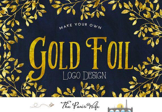 Gold Foil Logo Design Gold Logo Gold Text Logo by TheParisWife