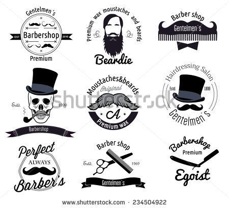 Set of retro Barber shop logo. Men's grooming labels, badges design element. Beard icon. People Logo. Comb scissors logo sign. Beard and mustache logo. Barbershop Vintage logotype.