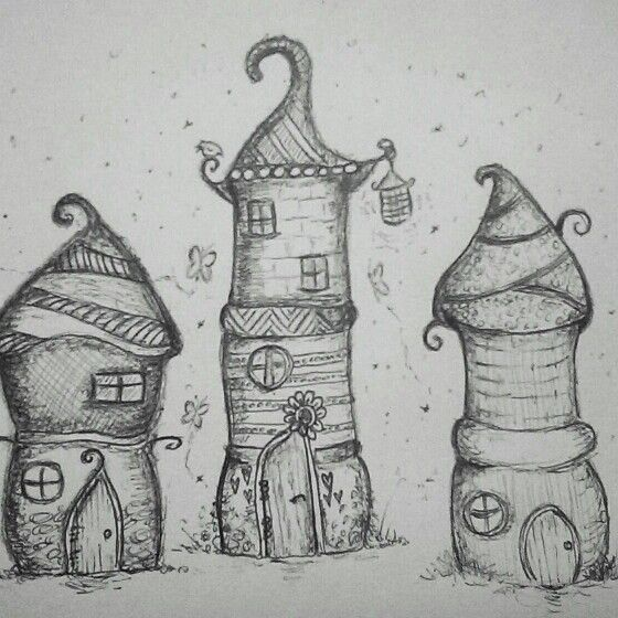 Drawn with black biro ...fairy houses #artjournal
