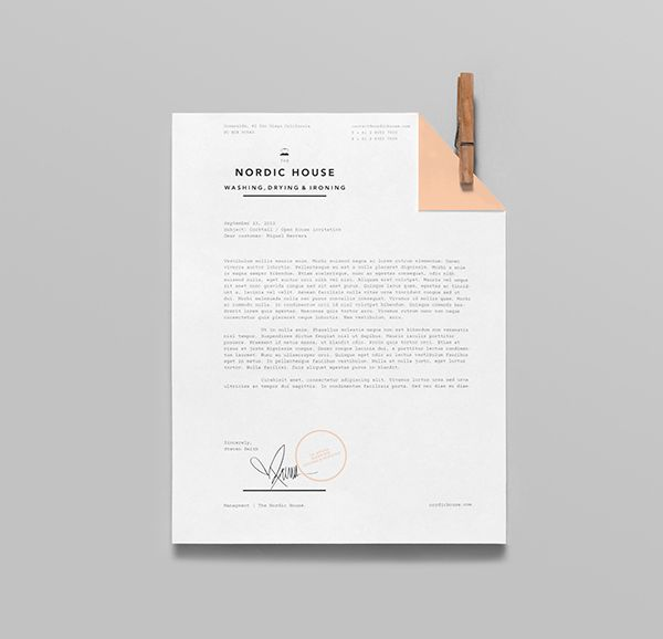 Letterhead designed by Anagrama for dry cleaning shop Nordic House.