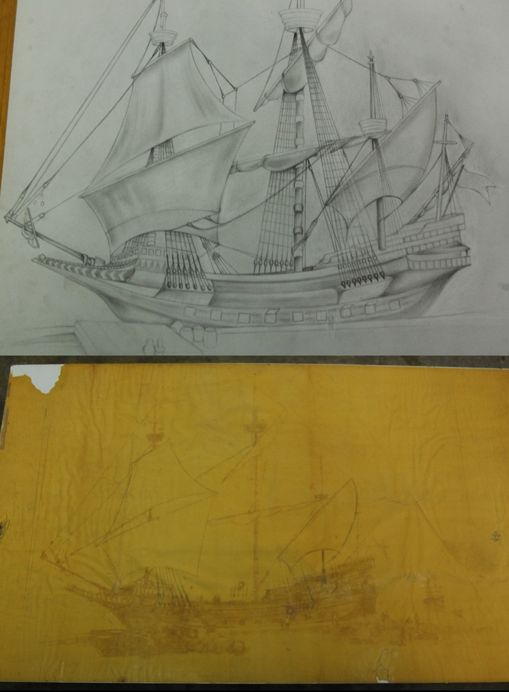 My artist Todd Groff is here working on a restoration for me. He is re-constructing a treasure ship that my grandfather salvaged in 1979. A National Geographic artist drew the bottom picture but it suffered years of smoke damage from not being properly stored, so Todd is re-creating it from scratch.: Artists Todd, Geographic Artists, National Geographic, Bottoms Pictures, Suffering Years, Artists Drew, Grandfather Salvaged, Smoke Damaged, Proper Stores