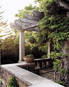 Martha Stewart: Garden Ideas, Pergolas, Outdoor Living, Kiwi Vines, Patio, Outdoor Spaces, Homes, Maine Summer