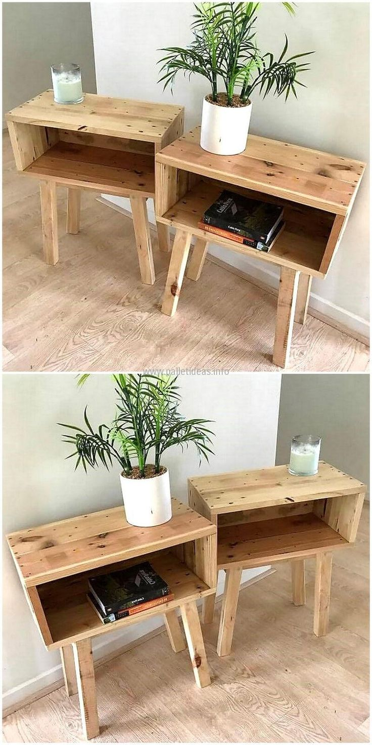 There are many homes with small space to make it a sitting area where a person can enjoy taking a cup of tea or coffee while reading the favorite book. So, this reclaimed wood pallet end table is perfect for that area to place the book inside it.