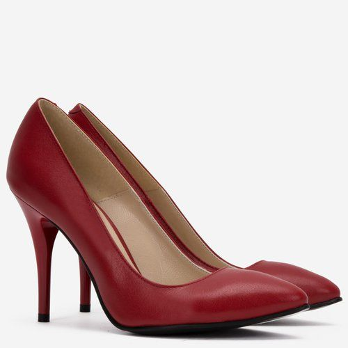 Pantofi stiletto rosii din piele naturala Fabianna