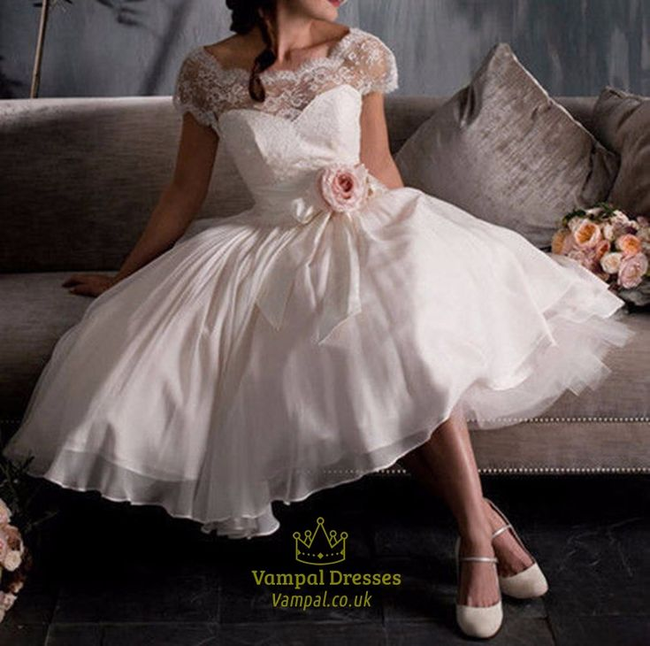 short retro wedding dresses uk%0A White Sheer Lace Top Short Wedding Dress With Cap Sleeves And Flower
