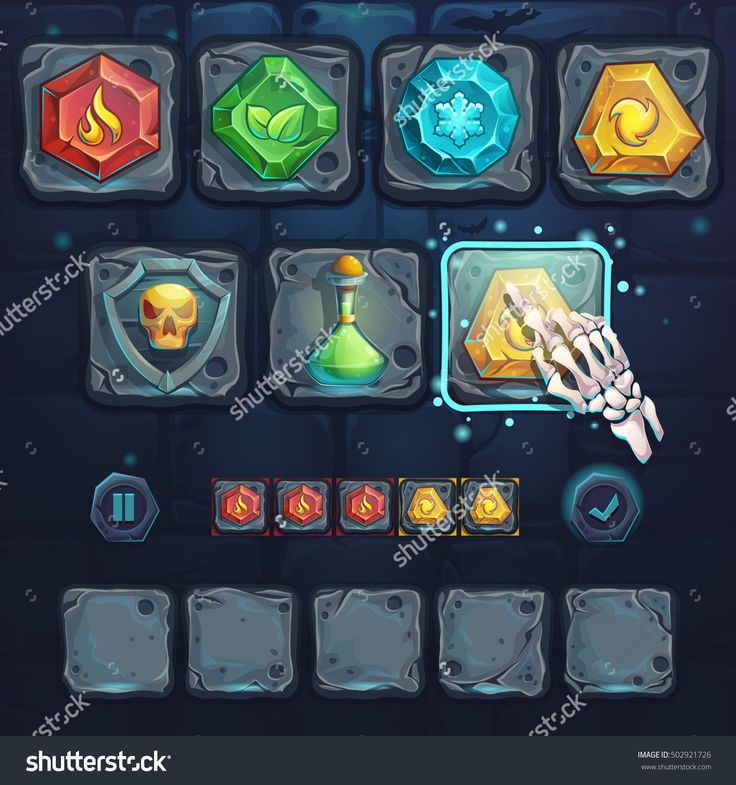 Set Icons And Arm Bone On The Stone Buttons. For Web, Video Games, User Interface, Design. Стоковая векторная иллюстрация 502921726 : Shutterstock