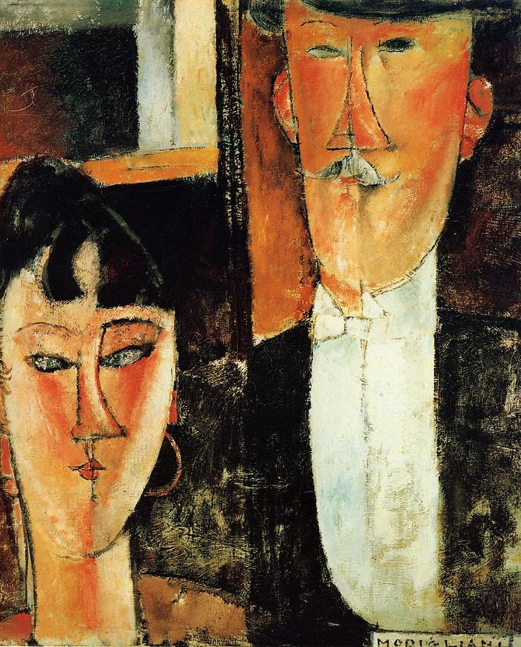 Amedeo Modigliani   [Italian Expressionist Painter and Sculptor, 1884-1920]  Bride and Groom   (also known as The Newlyweds),   1915-1916