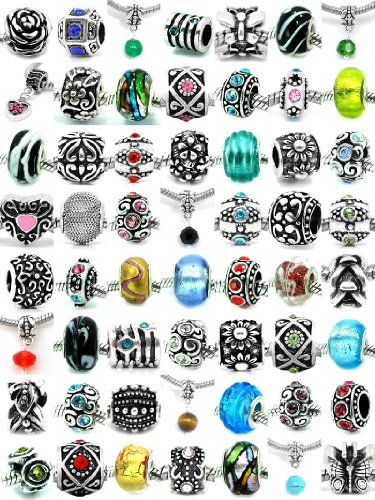 Pro Jewelry (20 Beads Mix) Pack of Assorted Silver Charms, Crystal Bead Charms, Murano Glass Beads and Spacers for European Style Bracelets. Fits Pandora, Biagi, Troll, Chamilla and Many Others Pro Jewelry,http://www.amazon.com/dp/B00FDASN6A/ref=cm_sw_r_pi_dp_4KjTsb0R2N1A8XG3