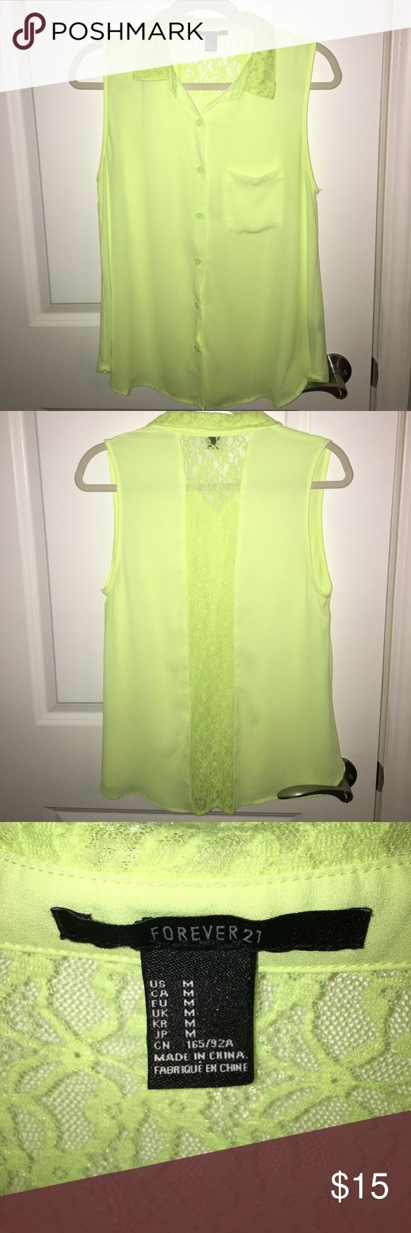 F21 Lime Green and Lace Button Down Blouse Gently used Women's Forever 21 Button down. Size M. Forever 21 Tops Button Down Shirts