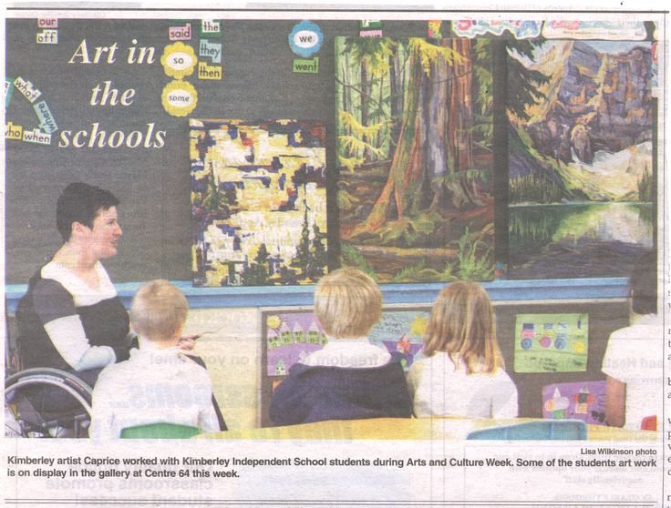 I took my paintings to the Kimberley Independent School.  The kids pulled out their paints and produced some amazing art...so much fun! Photo on front page of the Kimberley Daily Bulletin May, 2010.