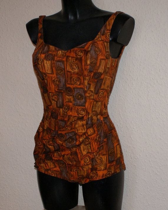 Vintage 1950s sarong front bombshell swimsuit St Michael XS S Rockabilly VLV High on Etsy, £70.00
