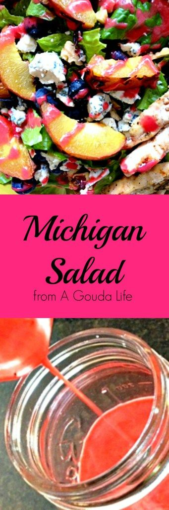 Updated Classic Michigan Salad with fresh fruit and an easy homemade raspberry champagne vinaigrette dressing. Simply put a great summer dish.