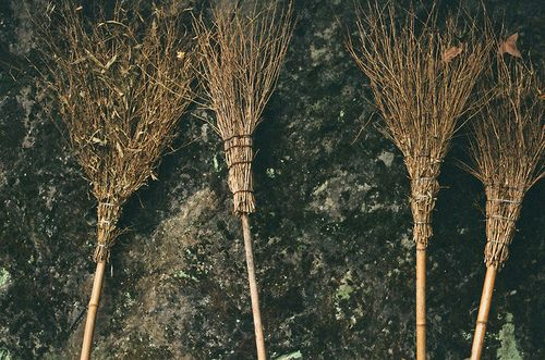Broom - for cleansing, removing dirt as well as negative energies.  For best luck brooms should never be purchased but taken from another home or given as a gift.  Place a broom upright by the door if you are receiving guests, downward if you are not. :)