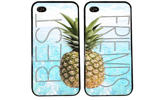 Pineapple BEST FRIENDS Case / Cute Summer iPhone 4 by KasiaKases, $22.99
