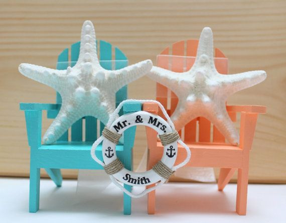 Nautical Chairs Cake Toppers Starfish Wedding by MiniLifeRings