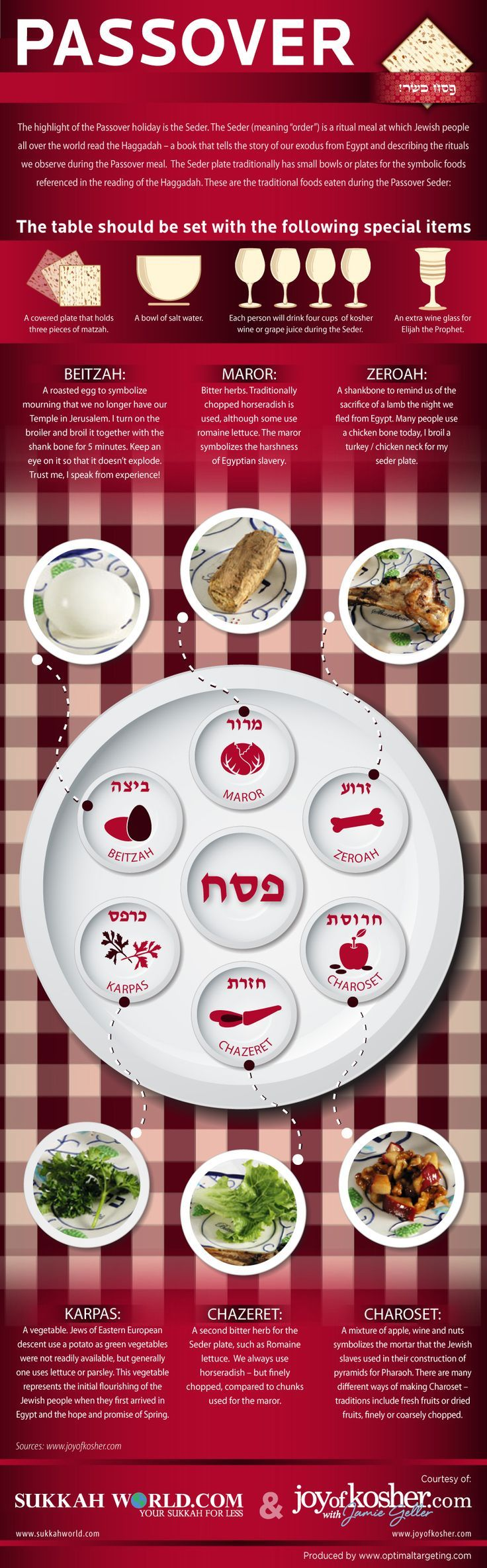 Passover - the Seder meal.  For vegetarians: Most commonly, a ripe beet is used in place of a shankbone at vegetarian seders.