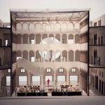 Fondaco dei Tedeschi a Venezia. Modello di studio del la proposta di Rem Koolhaas con la scala mobile sollevata. Copyright OMA
