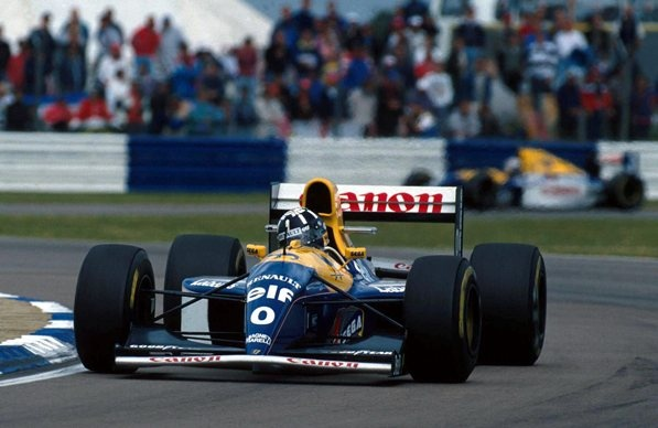 In the early 1990s the shape and appearance of Formula One tyres began to more closely resemble those we see today. From 1992 to the end of 1996, Goodyear were the only tyre manufacturer in the sport. This is Damon Hill leading the 1993 British Grand Prix at Silverstone for Williams.