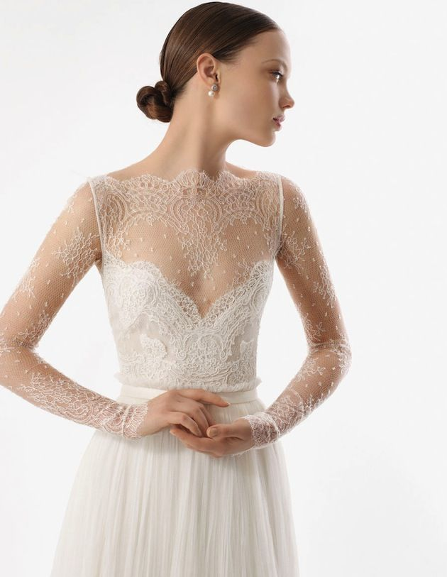 armilla dress by rosa clara | 2012 collection | gorgeous delicate long-sleeve sheer lace wedding dress | illusion neckline | sweetheart dress with sheer lace overlay | simple skirt