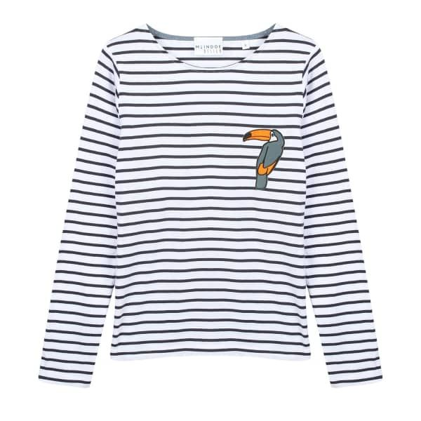 Toucan Patch Long-Sleeved T-shirt - Navy and White | McIndoe Design | Wolf & Badger