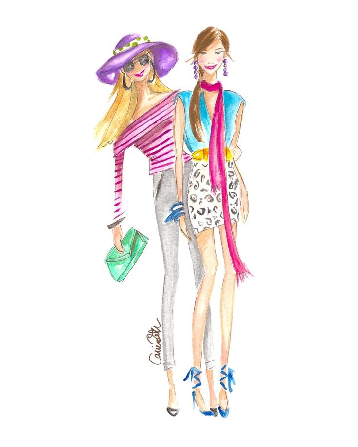 Shopaholic Girls Print  Artist Carrie Beth Taylor   carriebethtaylor.com