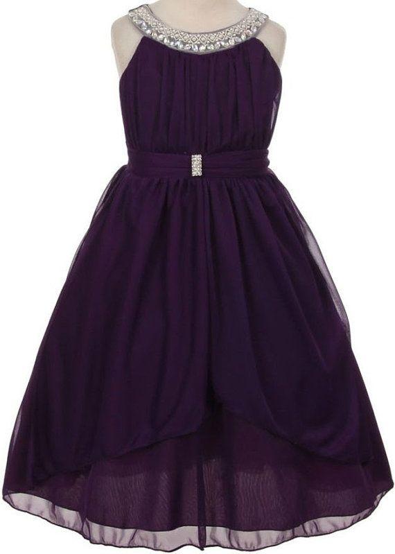 Flor chica vestido de Gasa ciruelo púrpura con detalle con cuentas escote. Vestido de Damita de honor de morado ciruela, ciruelo púrpura chicas dress