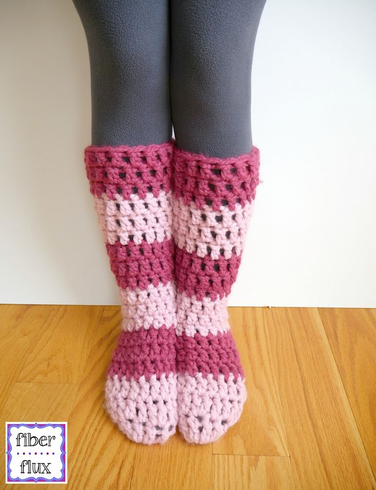 """The Strawberry Blossom Slipper Socks are soft, lofty, and extra cozy for toasty feet and legs. An easy to construct """"tube"""" sock is fini..."""