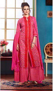Pink Color Printed Achkan Palazzo Salwar Kameez   FH603388096 #casualwaer #punjabiwedding #designersuits #salwarkameez #anarkalis #indiandesigner #desifashion #bollywoodstyle #salwar #chudidar #indianfashion #traditional #desicouture #pakistani #pakistaniwedding #pakistanibride #couture #cottonsalwarkameez #embroiderysalwarkameez #straightcutsalwarkameez #churidarkameez #churidarsuits #churidardresses #casualsalwarkameez #casualdresses #casualsuits #heenastyle