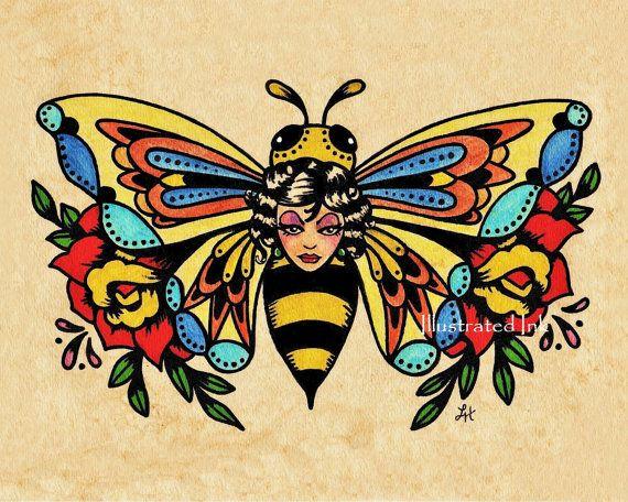 Old School Tattoo Art BEE Beauty Butterfly Print by illustratedink