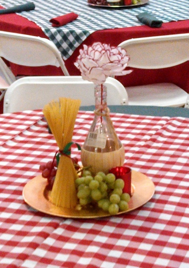 Ideas For An Italian Themed Dinner Party Part - 47: This Mixed With Candle One These Were The Centerpieces We Used For An  Italian Theme Event. We Used Real Grapes, A Chianti Bottle, Dry Pasta And A  Candle On ...