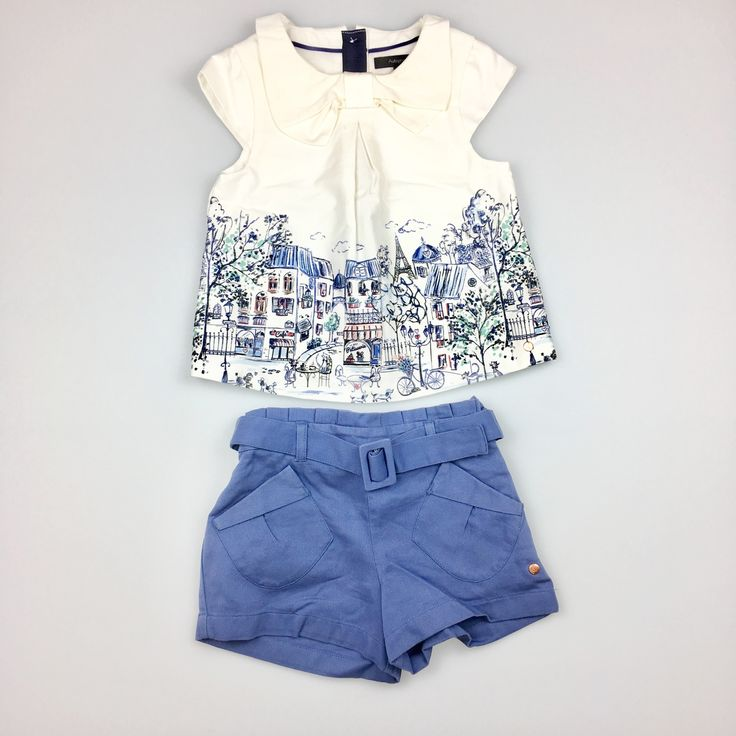 M&S, beautiful top & shorts set. Top fastens with buttons up the back. Shorts have adjustable waist, plus belt. Excellent pre-loved condition (EUC), age 3-4 years, $20 #kidsfashion #girlsfashion #marksadspencer