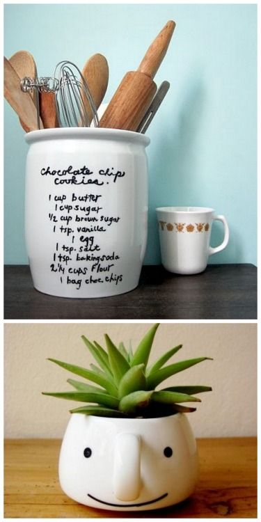 DIY Recipe Utensil Crock and Succulent Smiling Mug. I don't usually post Sharpie-like DIYs on dishes or mugs because people have been having really bad results in real life. But Living Well Spending Less posted a good tutorial on what pens to use here:Sharpie paint oil-based markers and DecoArt glass paint markers. There is also a post of 21 Tips for Sharpie Mugs by Craftaholics Annoymous here. Top Photo:DIY Favorite Recipe Utensil Crock Tutorial from Calico. She used Air-Dry PermEnamel…