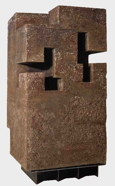 """""""Unorthodox Architecture I"""" by Spannish artist Edouardo Chillida. Chillida's work in general, and this piece in particular keeps inspiring me. I love the carved-out spaces, the dirt and harshness of the concrete and the archetypical feeling of architecture it brings to mind."""