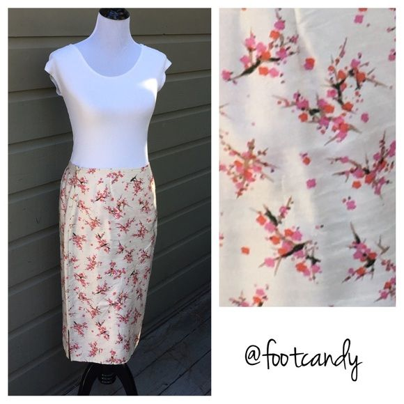 """Free People Cherry Blossom Silk Pencil Skirt Brand: Free People  Material: 100% Slik Size: listed as 5 (but waist is 28"""") Color: Pink Japanese Cherry Blossoms  Waist: 28"""" Length: 24"""" Misc: Beautiful hot pink lining    CLOSET RULES: No PayPal. No Holds. No Trades. Please make reasonable offers through offer button.   BUYER PROTECTION: After purchase, all items are subject to additional photos and videotapes with date stamping and buyer closet name. Free People Skirts"""