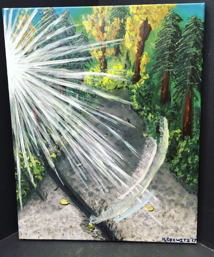 Mossom Creek Sunbeam Forest Road Acrylic Canvas Painting by NyxStudioArt