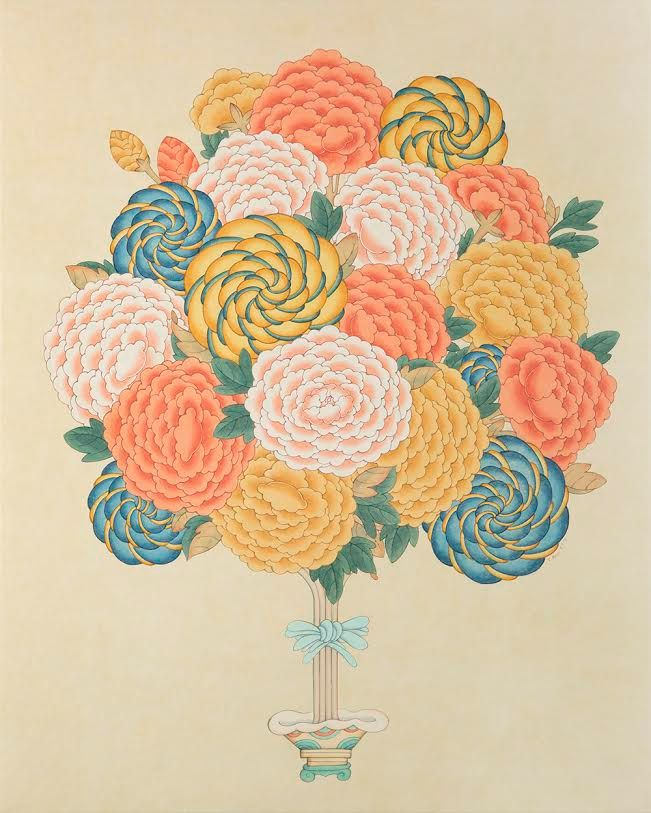 Contemporary Korean Minhwa Folk Painting - Peonies