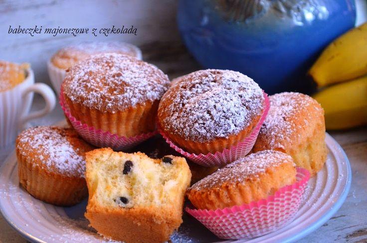 Smak, zapach, kolor, tradycja z nutką nowoczesności...: Babeczki majonezowe z czekoladą -muffiny majonezow...