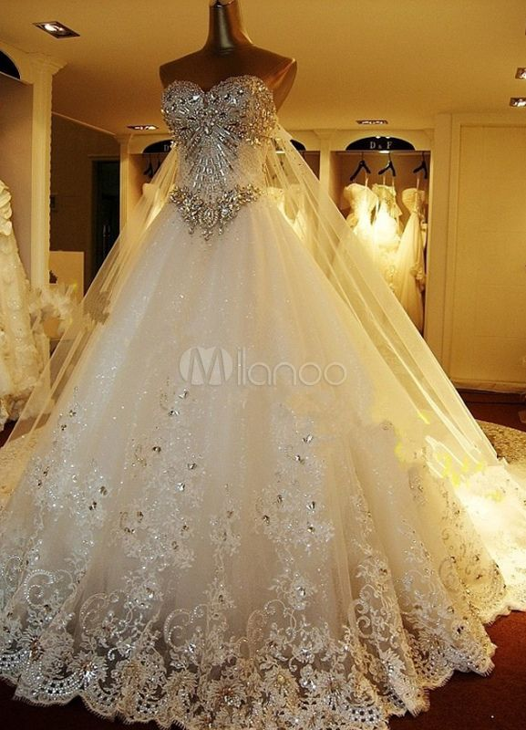 Abito da sposa bianco organza senza spalline vestito da ballo strascico a cattedrale - Milanoo.com