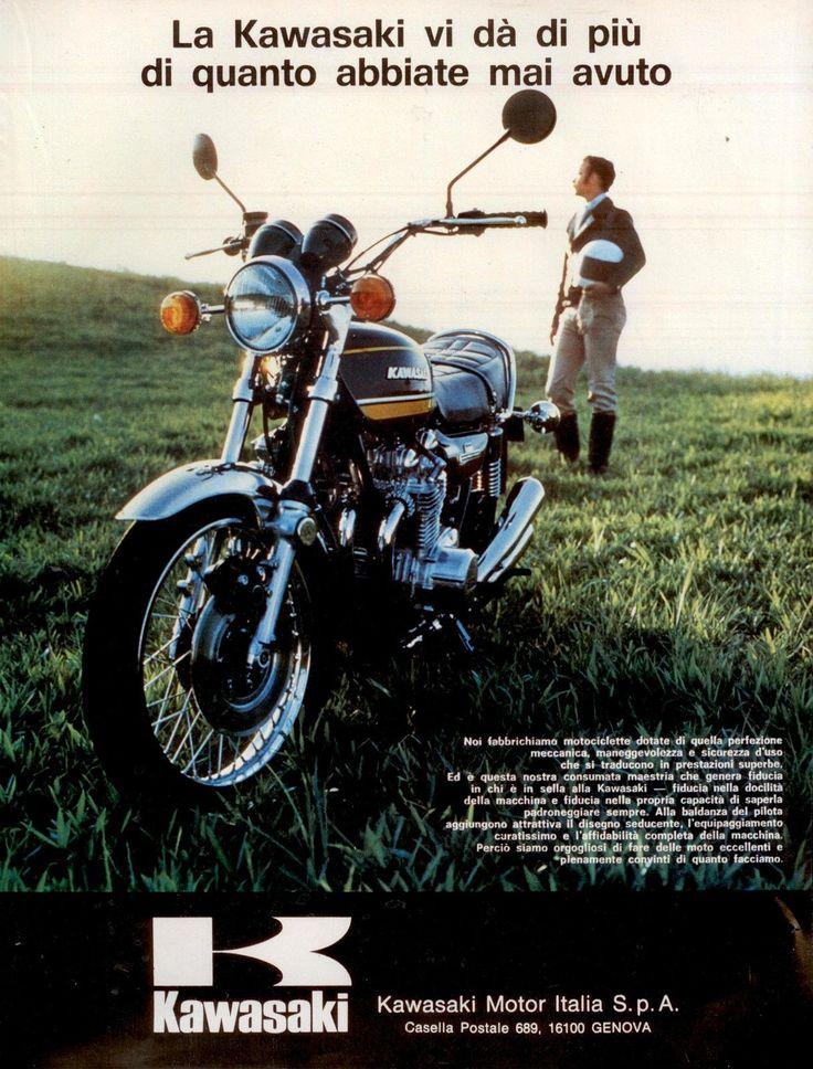 Pubblicità-originale-anni-70-MOTO-KAWASAKI-Advert-werbung
