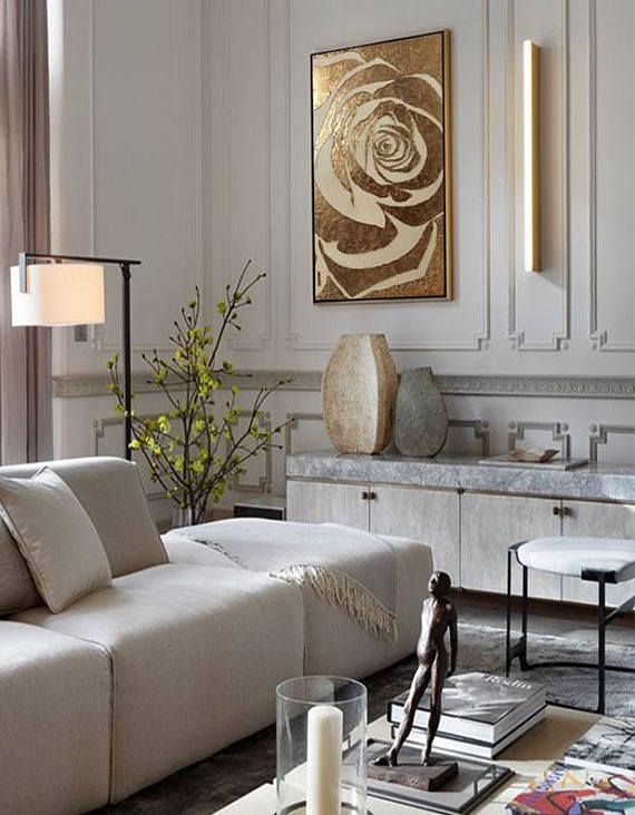 Large Abstract Painting Rose Gold Painting Textured Painting Etsy Room Interior Living Room Modern Modern Room