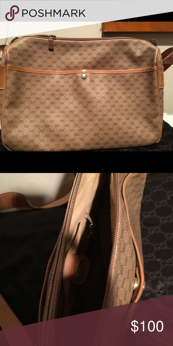 Classic vintage Gucci leather messenger bag. Classic leather Gucci messenger bag. Bag is worn but is an oldie but goodie! Bag is roughly 12 inches long and 6 inches high! Gucci Bags Crossbody Bags